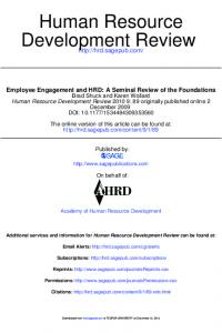 Employee Engagement and HRD