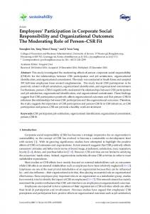 Employees' Participation in Corporate Social Responsibility ... - MDPI