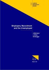 Employers, Recruitment and the Unemployed - Institute for ...