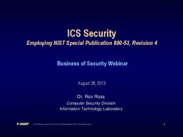 Employing NIST Special Publication 800-53 Briefing - Business of ...