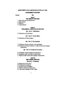 EMPLOYMENT AND LABOUR RELATIONS ACT, 2004 ...