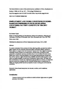 EMPLOYMENT AND WORK CONDITIONS IN HOME- BASED ...