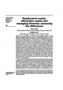 Employment equity, affirmative action and ... - Ingenta Connect