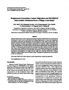 Employment Generation, Labour Migration and ... - AgEcon Search