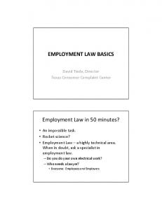 EMPLOYMENT LAW BASICS Employment Law in 50 minutes?