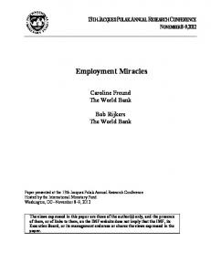 Employment Miracles - IMF