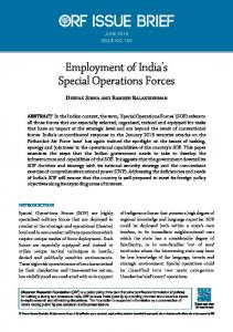 Employment of India's Special Operations Forces - Observer Research ...