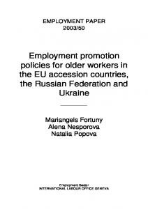 Employment promotion policies for older workers in the EU accession ...