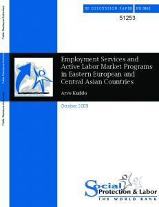 Employment Services and Active Labor Market Programs in Eastern ...