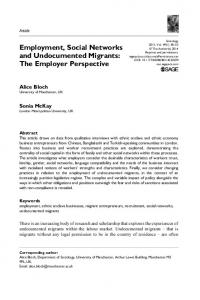 Employment, Social Networks and Undocumented Migrants - CiteSeerX