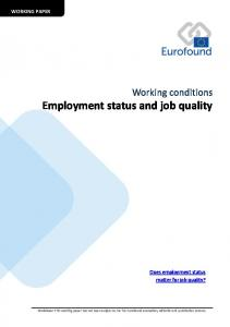 Employment status and job quality