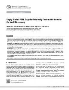 Empty Bladed PEEK Cage for Interbody Fusion after Anterior Cervical ...