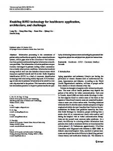 Enabling RFID technology for healthcare: application, architecture ...