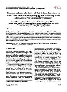 Enantioresolution of a Series of Chiral Benzyl Alcohols by HPLC on a