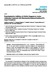 Enantioselective Addition of Allyltin Reagents to ... - Semantic Scholar