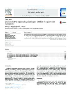 Enantioselective organocatalytic conjugate addition of ...
