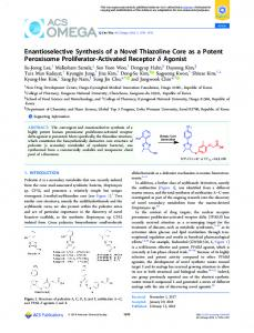 Enantioselective Synthesis of a Novel Thiazoline ... - ACS Publications