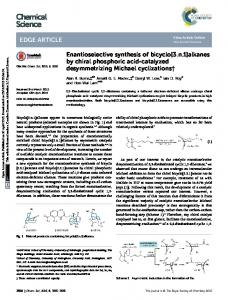 Enantioselective synthesis of bicyclo[3.n.1]alkanes by ...