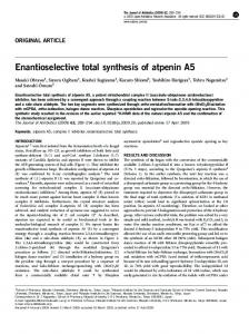 Enantioselective total synthesis of atpenin A5 - Nature