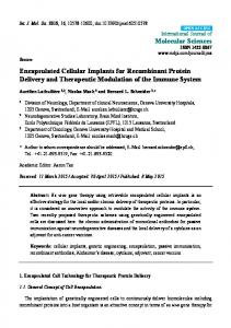 Encapsulated Cellular Implants for Recombinant ... - Semantic Scholar