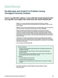 Enculturation and Alcohol Use Problems Among Aboriginal University ...