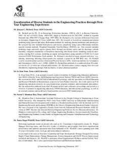 Enculturation of Diverse Students to the Engineering ... - Asee peer