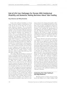 End-of-Life Care Challenges for Persons With Intellectual Disability