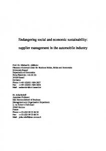 Endangering social and economic sustainability ...