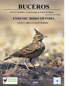 Endemic Birds of India - CiteSeerX