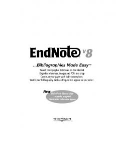 EndNote 8 for Windows Manual