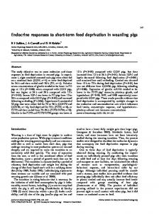 Endocrine responses to short-term feed deprivation in weanling pigs