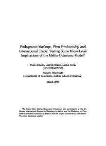 Endogenous Markups, Firm Productivity and