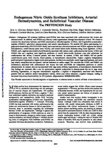 Endogenous Nitric Oxide Synthase Inhibitors, Arterial ...