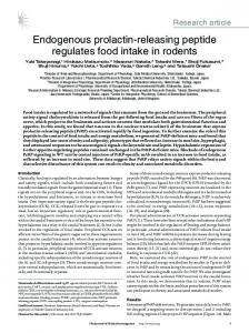 Endogenous prolactin-releasing peptide regulates food intake in rodents