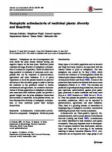 Endophytic actinobacteria of medicinal plants: diversity ... - CiteSeerX