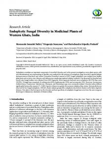 Endophytic Fungal Diversity in Medicinal Plants of Western Ghats, India