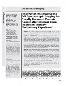 Endorectal MR Imaging and MR Spectroscopic Imaging for Locally ...