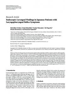 Endoscopic Laryngeal Findings in Japanese Patients with ...