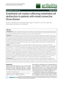 Endothelial cell markers reflecting endothelial cell ... - Scolaris