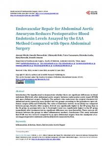 Endovascular Repair for Abdominal Aortic Aneurysm Reduces ...