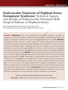 Endovascular Treatment of Popliteal Artery Entrapment Syndrome