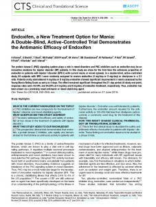 Endoxifen, a New Treatment Option for Mania - Wiley Online Library