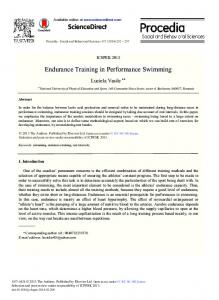 Endurance Training in Performance Swimming - Science Direct