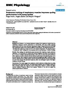 Endurance training of respiratory muscles improves cycling ...