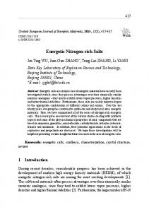 Energetic Nitrogen-rich Salts