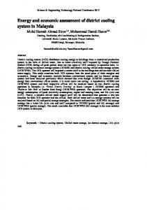 Energy and economic assessment of district cooling ...