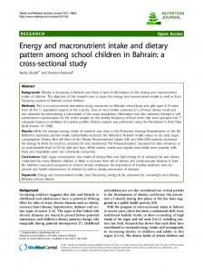 Energy and macronutrient intake and dietary pattern ... - BioMedSearch