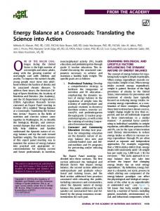 Energy Balance at a Crossroads: Translating the Science into ... - Core