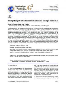Energy budgets of Atlantic hurricanes and ... - Wiley Online Library