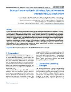 Energy Conservation in Wireless Sensor Networks through HEECA ...